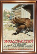 MAGNET  Vintage Winchester Ad Ads Cowboy Bear Cabin Self Loading Rifle