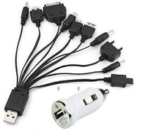 10 IN 1 UNIVERSAL USB CABLE & CAR  CHARGER FOR MOBILE PHONE PSP iPhone & samsung