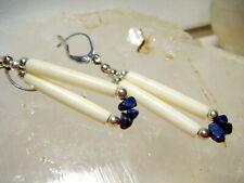 Beautiful Gold Plated Round Blue Lapis Paddle Pin Native American Earrings
