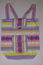 Backpack large Canvas Striped White and Pastels Purple Aztec triangles