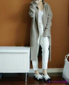 Women's Knitted Wool Hooded Long Sweater Cardigan Coats Outwear Overcoat Fashion