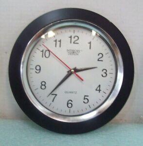 "Interiors Design Round Black Quartz Movement Wall Clock 9.75"" Home Decor"