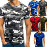 Mens Military Camouflage Camo T Shirt Army Combat Tee Summer Beach Tactical Top