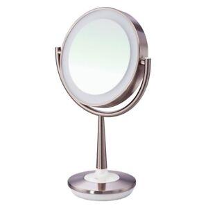 Brookstone Touch-Sensor Base Cordless Illuminated Makeup Mirror - Silver
