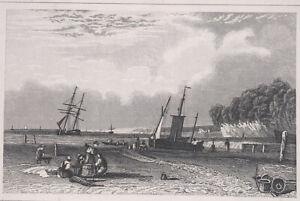 Antique Print Of Northfleet, Gravesend, Kent, Miniature, Seascape, Beach, Boats