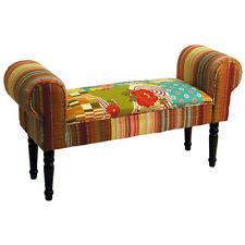 patchwork chaise Shabby Chic Pouf tabouret avec bois pieds - Multicolore och3536
