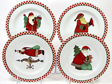 "Sakura MAGIC OF SANTA 8"" Dessert Plate Set(s) 4pc Red Green Christmas Tree Mumm"