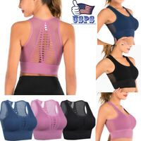 Women Hollow out Yoga Bra Fitness Stretch Workout Seamless Racerback Padded Tops