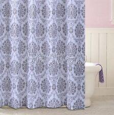 Include Hook Gray Eleglant Floral Flower Bathroom Fabric Shower Curtain ss304