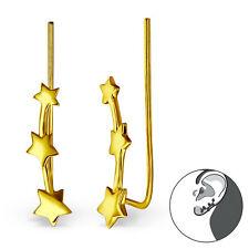 Sterling Silver 925 Climbing Stars Gold Pierced Ear Cuff Earrings