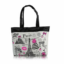 Womens T1 Zipped Fashion Canvas Tote Large Space Zipper Hand Bag -Paris Elements