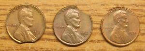 Lot of (3) Lincoln Cent with Clipped Planchet 1961D,1962D,1974 Take a :Look
