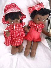 "18"" old vintage folk art black cloth dolls lot Americana cloth set lot antique"