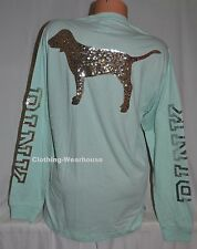 Victoria's Secret Pink Mint Blue Gold Bling Dog Long Sleeve Campus Shirt Tee M
