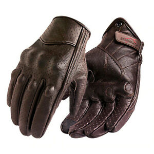 New Motorcycle Leather Gloves Men Touch Screen Electric Bike Glove Full Finger