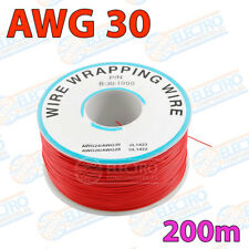 Bobina AWG30 - ROJO - 200m Cable Hilo WRAPPING electronica soldar