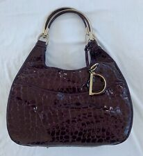 ~ AUTHENTIC DIOR VIOLET GLOSSY CROCODILE EMBOSSED 61 BAG (FOREVER CLASSIC!) ~