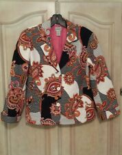 Chico's 100%Cotton Blk/ pink/ wh Paisley Lined Quilted Jacket Size 1 (M)