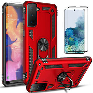 For Samsung Galaxy S21+/S21 Ultra 5G Case, Ring Stand + Tempered Glass Protector
