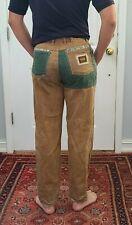 New listing Vintage Oscar Patchwork Brown Green Denim Jeans Hip Hop Skater 90's High Waist
