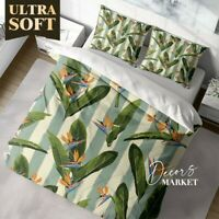 Bird Of Paradise Floral  Green Quilt Cover Sets Single Double Queen King Size