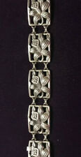 Reduced Vintage sterling silver Plaque Floral bracelet By Danecraft