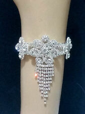 Upper Arm Cuff Chain Bracelet Body Jewelry Flower Daisy Crystal Fringe Floral