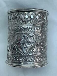 Superb Antique Middle Eastern Silver Hand Chased & Engraved Beaker