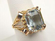 Natural French Cut Aquamarine Beryl Ring 18 kt Rose Gold Size 8 1/2 #A1378