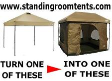 "Turn ""YOUR POP=UP CANOPY""  into a 100Sq.ft STANDING ROOM TENT""Tan color"""