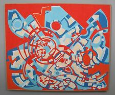 Large 1970s Authentic FREDERIC M FAILLACE Abstract Op-Art Acrylic Painting, NR