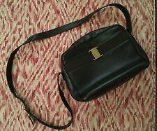 Auth SALVATORE FERRAGAMO Cross Body Shoulder Bag Chocolate Brown Leather