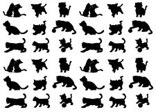 36pc Cats Kittens Cat Vinyl Decal Black Silhouette Stickers Glass Metal Plastic