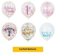 "12"" LATEX CONFETTI BALLOONS (Birthday/Party/Glitzy/Princess/Pink/Gold) UNIQUE"