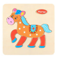 Lovely Wooden Horse Puzzle Educational Developmental Baby Kids Training Toys