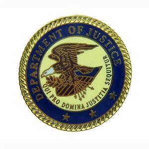 DOJ Department of Justice Federal Agency Seal Logo Lapel Pin Law Enforcement