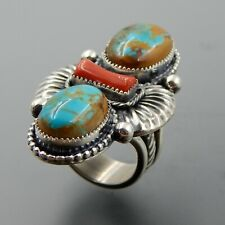 Handcrafted sterling silver turquoise red coral cluster fluted wide ring sz 9.25