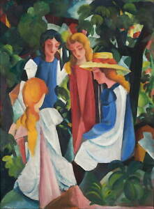 August Macke Four Girls Poster Reproduction Paintings Giclee Canvas Print