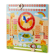 Educational Wooden Calendar Toy Clock Date Weather Chart Kids - Animal Zoo