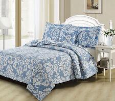 DaDa Bedding Elegant Jacquard Damask Blue Floral Quilted Bedspread Coverlet Set