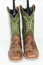 ARIAT MENS 8.5 D MESTENO CLAY LIME BROWN LEATHER SQUARE TOE WESTERN COWBOY BOOTS