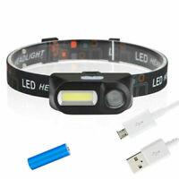 COB LED Headlight Headlamp Head Lamp Flashlight USB Rechargeable 18650 Torch