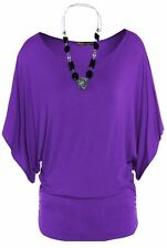 New Ladies Plus Size Baggy ¾ Batwing Sleeve Necklace Slouch Tunic Tops