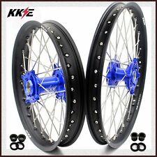 KKE 21/19 DIRTBIKE MX WHEELS SET FOR KAWASAKI KX125 KX250 2006-2007 BLUE CNC HUB