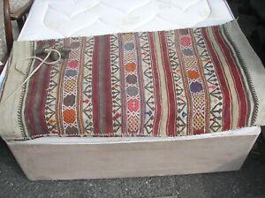 Vintage Burlap Rug Runner Carpet sack with bells 120cm x 65cm