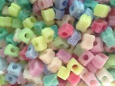 20 perle foro largo plastica gufi pastello, 0,8x1 cm, foro 4 mm bigiotteria