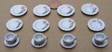 1:12 Scale 16 Piece Hand Painted Orange Floral Ceramic Tea Set Dolls House TS7