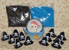 Pirate,Cupcake Kit,Rings,Sprinkles,Bake Cups,Wilton,415-1015, Blue, Party Set