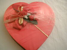 Vintage Fannie May Valentine Red Fabric Heart Shape Candy Box Satin Bow And Rose