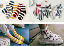 Ladies Casual Cotton Blend Ankle Socks Wide or Thin Stripe College Everyday 4-6